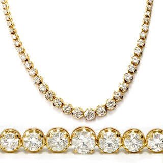 18k Yellow Gold 21.29 ct Graduated Round Diamond Tennis Necklace (G-H,SI2-I1)