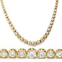 18k Yellow Gold 21.29 ct Graduated Round Diamond Tennis Necklace