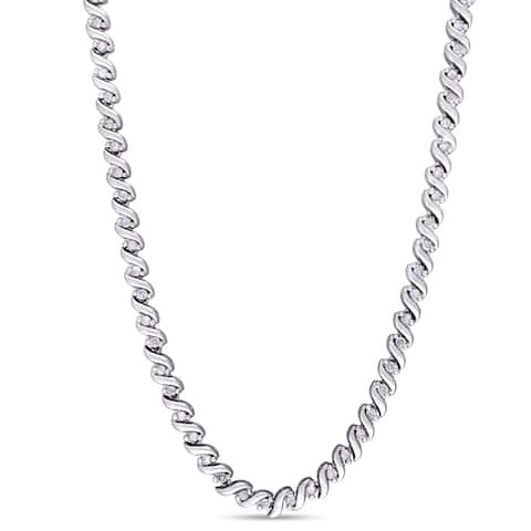 Miadora 1ct TDW Diamond Twisted Tennis Necklace in Sterling Silver - 17 in x 3.8 mm