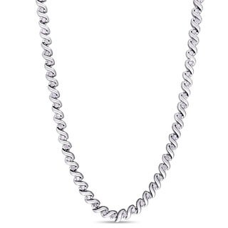 Miadora 1ct TDW Diamond Twisted Tennis Necklace in Sterling Silver