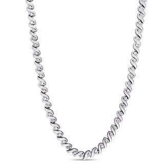 Miadora 1ct TDW Diamond Twisted Tennis Necklace in Sterling Silver (G-H, I2-I3)