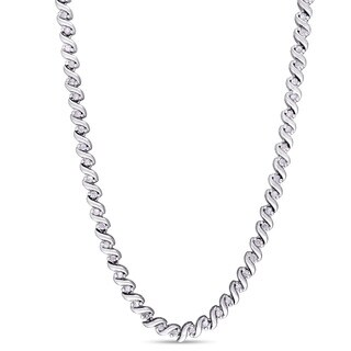 Miadora 1ct TDW Diamond Twisted Tennis Necklace in Sterling Silver - White