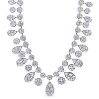 Miadora Signature Collection 18k White Gold 14 1/2ct TDW Diamond Vintage Teardrop Necklace