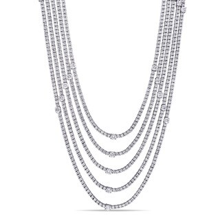 Miadora Signature Collection 18k White Gold 16 1/7ct TDW Diamond Multi-Layered Necklace (G-H, I1-I2)