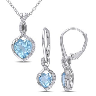 Miadora Blue Topaz and 1/4ct TDW Diamond Infinity Necklace and Leverback Earrings 2-Piece Set in Sterling Silver (G-H,I2-I3)