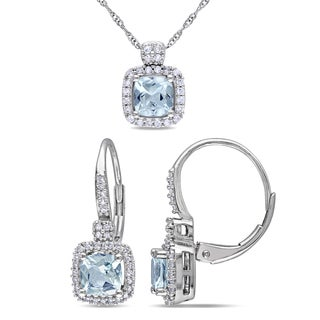 Miadora Cushion-Cut Aquamarine and 1/3ct TDW Diamond Necklace and Leverback Earrings 2-Piece Set in 10k White Gold (G-H,I1-I2)
