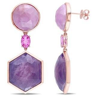 Miadora Signature Collection Pink Sapphire and Pink Topaz Geometric Dangle Earrings in 14k Rose Gold