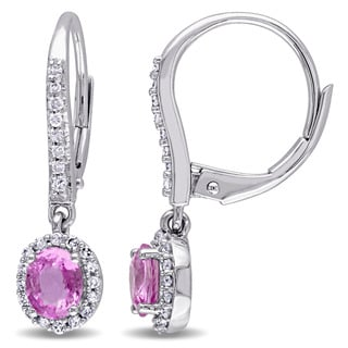 Miadora Pink Sapphire and 1/5ct TDW Diamond Halo Accent Leverback Earrings in 10k White Gold (G-H,I1-I2)
