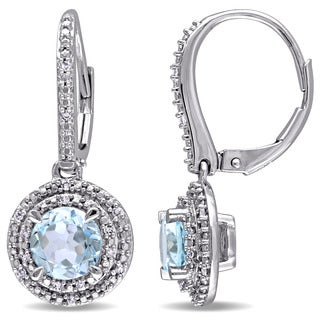 Miadora Sky Blue Topaz and 1/10ct TDW Diamond Double Halo Leverback Earrings in 10k White Gold (G-H,I1-I2)