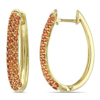 Miadora Madeira Citrine Hoop Earrings in 10k Yellow Gold