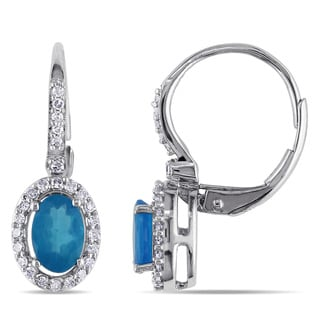 Miadora Oval-Cut Apatite and 1/5ct TDW Diamond Halo Leverback Earrings in 10k White Gold (G-H,I1-I2)