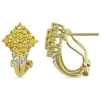 Miadora Diamond and Yellow Sapphire Cluster Earrings in 14k Yellow Gold (G-H, I1-I2)