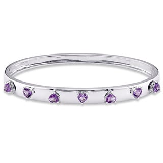 Miadora Signature Collection Children's Heart Shaped Amethyst Bangle in 18k White Gold