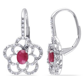Miadora Oval-Cut Ruby and 1/5ct TDW Diamond Open Flower Leverback Earrings in 10k White Gold (G-H,I1-I2)