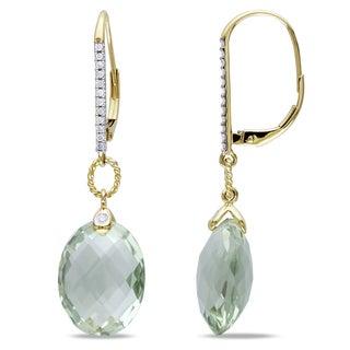 Miadora Oval-Cut Green Amethyst and 1/8ct TDW Diamond Drop Earrings in 14k Yellow Gold (G-H,I2-I3)