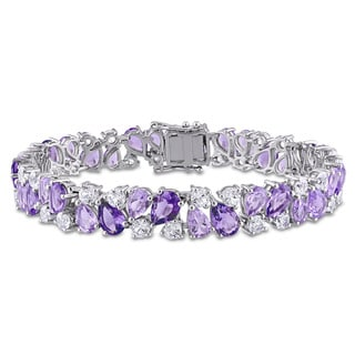 Miadora Pear-cut Rose de France Amethyst and Created White Sapphire Cluster Vintage Bracelet in Sterling Silver