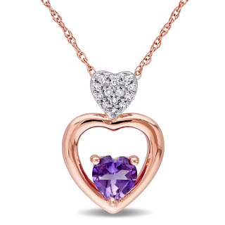 Miadora Amethyst and Diamond Accent Tiered Triple Heart Necklace in 10k Rose Gold (G-H,I2-I3)