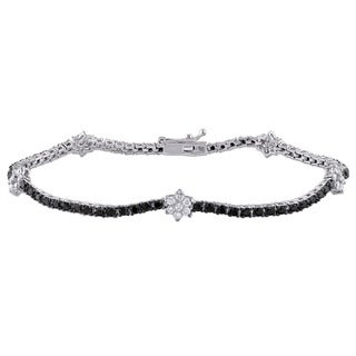 Miadora Signature Collection 2ct TDW Black and White Diamond Flower Bracelet in 18k White Gold (G-H,SI1-SI2)