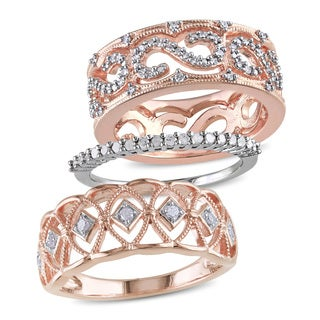 Miadora 1/2ct TDW 3-Piece Anniversary Ring Set in Two-tone White and Rose Plated Sterling Silver (G-H,I2-I3)