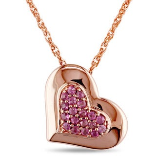 Miadora Children's Pink Sapphire Heart Necklace in 18k Rose Gold