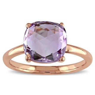 Miadora Amethyst Solitaire Cocktail Ring in Rose Plated Sterling Silver