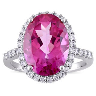 Miadora Signature Collection Oval-Cut Pink Topaz and 3/8ct TDW Diamond Halo Cocktail Ring in 14k White Gold (G-H,I1-I2)