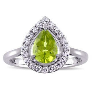 Miadora Pear-cut Peridot and Created White Sapphire Teardrop Halo Cocktail Ring in Sterling Silver