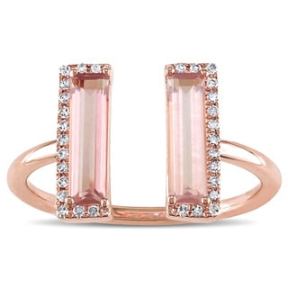 Miadora Signature Collection 1/10ct TDW Diamond and Pink Quartz Open Geometric Ring in 14k Rose Gold (G-H,SI1-SI2)