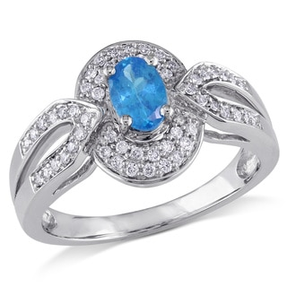 Miadora Signature Collection Oval-Cut Apatite and 1/4ct TDW Diamond Double Halo Split Shank Ring in 14k White Gold (G-H,I1-I2)