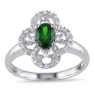 Miadora Oval-Cut Chrome Diopside and 1/6ct TDW Diamond Flower Ring in 10k White Gold (G-H, I1-I2)