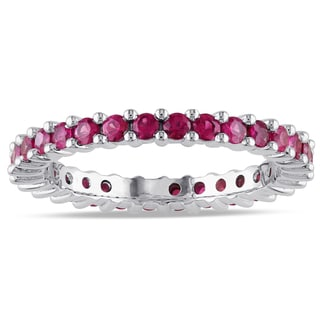 Miadora Pink Sapphire Eternity Ring in 14k White Gold