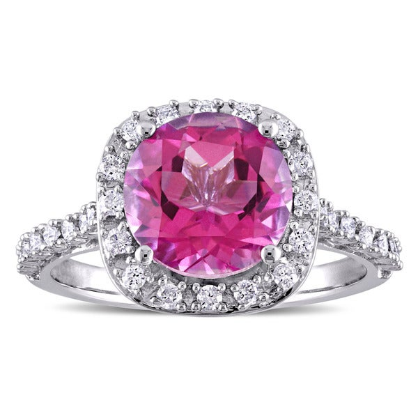 Miadora Signature Collection Pink Topaz and 1/4ct TDW Diamond Halo Engagement Ring in 10k White Gold