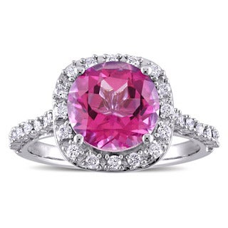 Miadora Signature Collection Pink Topaz and 1/4ct TDW Diamond Halo Engagement Ring in 10k White Gold (G-H,I2-I3)
