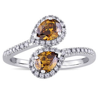 1ct TDW Cognac and White Diamond Bypass Ring in 14k White Gold by The Miadora Signature Collection