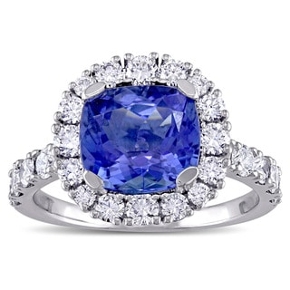 Miadora Signature Collection Cushion-Cut Tanzanite and 1ct TDW Diamond Halo Engagement Ring in 18k White Gold (G-H, SI1-SI2)