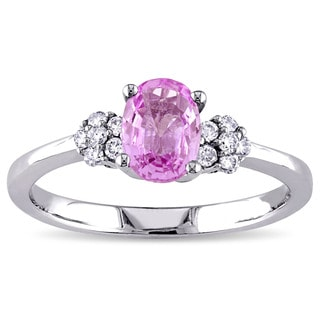 Miadora Signature Collection Oval-Cut Pink Sapphire and 1/8ct TDW Diamond Engagement Ring in 10k White Gold (G-H,I1-I2)