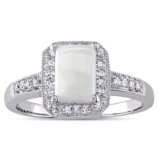 Miadora Emerald-Cut Opal and 1/8ct TDW Diamond Halo Engagement Ring in 10k White Gold (G-H, I1-I2)