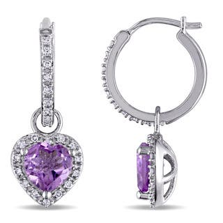 Miadora Heart Cut Amethyst And 1 4ct Tdw Diamond Shaped Halo Dangle