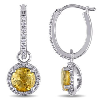 Miadora Citrine and 1/4ct TDW Diamond Halo Dangle Charm Earrings in 10k White Gold (G-H,I2-I3)