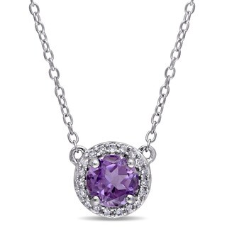 Miadora Amethyst and 1/10ct TDW Diamond Halo Necklace in Sterling Silver (G-H,I2-I3)