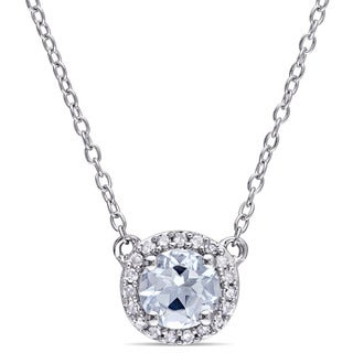 Miadora Ladies Aquamarine and 1/10ct TDW Diamond Halo Necklace in Sterling Silver