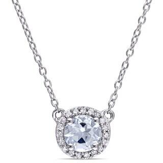 Miadora Ladies Aquamarine and 1/10ct TDW Diamond Halo Necklace in Sterling Silver