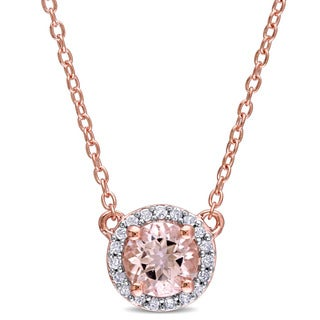 Miadora Morganite and 1/10ct TDW Diamond Halo Necklace in Rose Plated Sterling Silver (G-H,I2-I3)