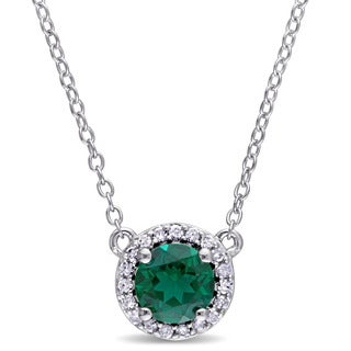 Miadora Created Emerald and 1/10ct TDW Diamond Halo Necklace in Sterling Silver (G-H,I2-I3)