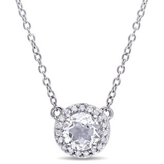 Miadora White Topaz and 1/10ct TDW Diamond Halo Necklace in Sterling Silver (G-H,I2-I3)