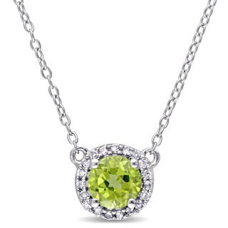 Miadora Peridot and 1/10ct TDW Diamond Halo Necklace in Sterling Silver (G-H,I2-I3)