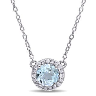 Miadora Sky Blue Topaz and 1/10ct TDW Diamond Halo Necklace in Sterling Silver (G-H,I2-I3)