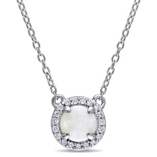 Miadora Opal and 1/10ct TDW Diamond Halo Necklace in Sterling Silver (G-H,I2-I3)