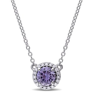 Miadora Created Alexandrite and 1/10ct TDW Diamond Halo Necklace in Sterling Silver (G-H,I2-I3)