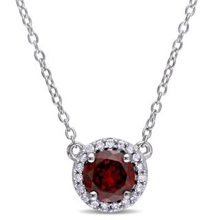 Miadora Garnet and 1/10ct TDW Diamond Halo Necklace in Sterling Silver (G-H,I2-I3)